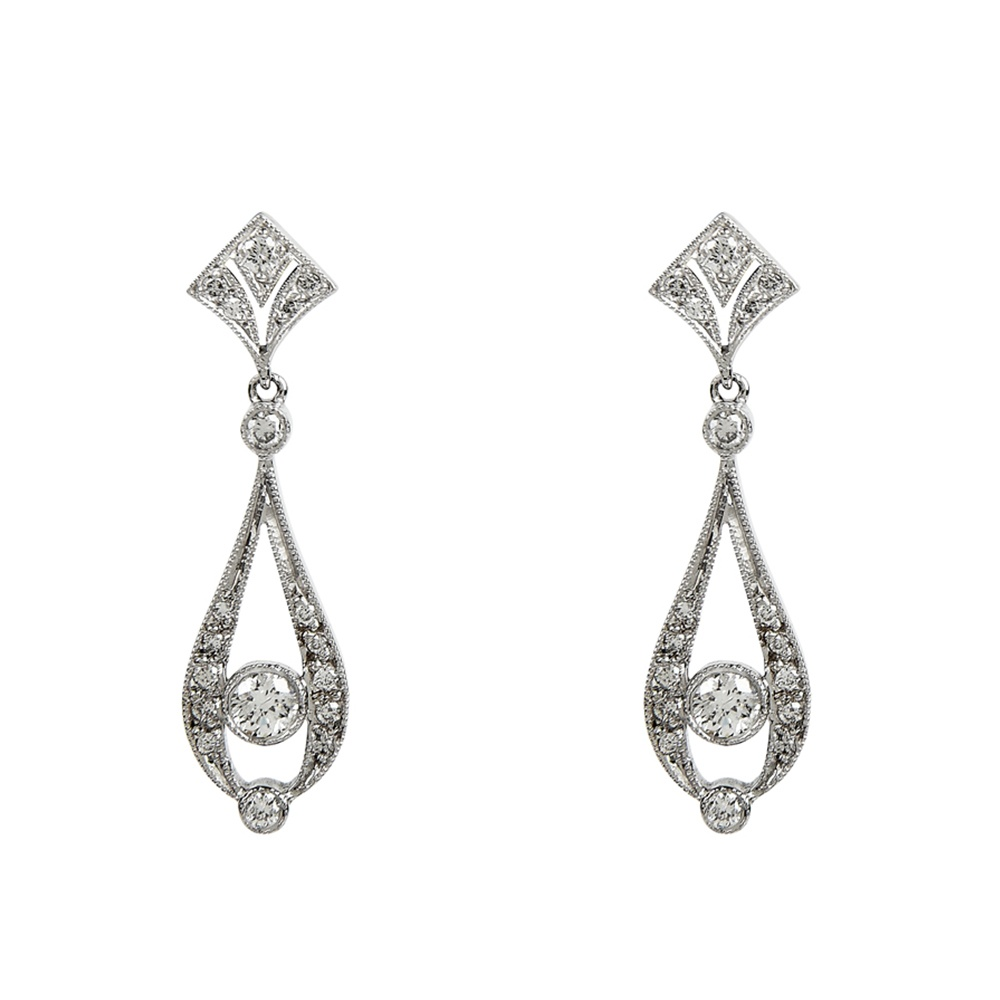 Art Deco Style Earrings Uk Art Deco Style Diamond 18ct White Gold Drop Earrings