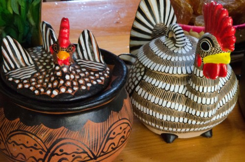 Whimsical Amantenango chicken pots