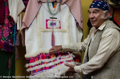 Humanitarian healer Sergio Castro with vintage textile collection