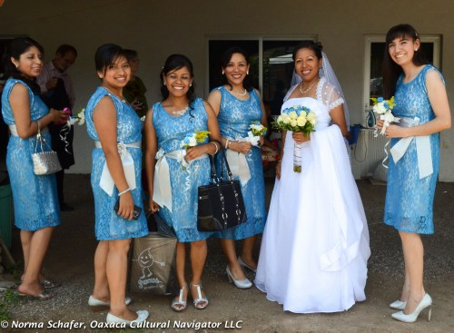 Rosa and her bridesmaids ready to leave for the church.