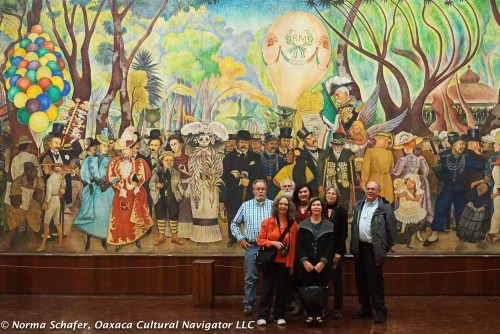 Dream of a Sunday Afternoon in the Alameda Park mural covers 500 years of Mexican history