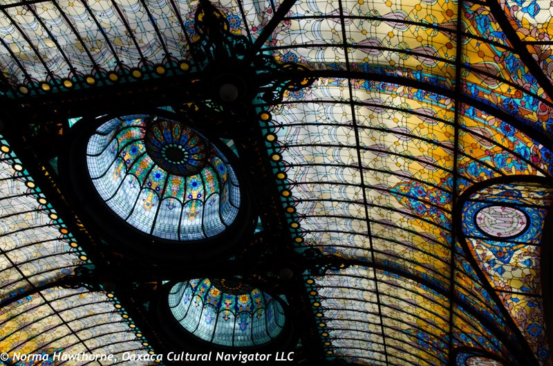 Tiffany glass ceiling at El Gran Hotel Ciudad de Mexico