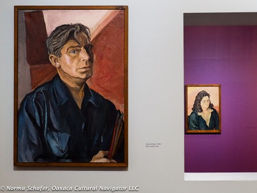 Pablo O'Higgins self-portrait, and portrait of his wife Maria in background
