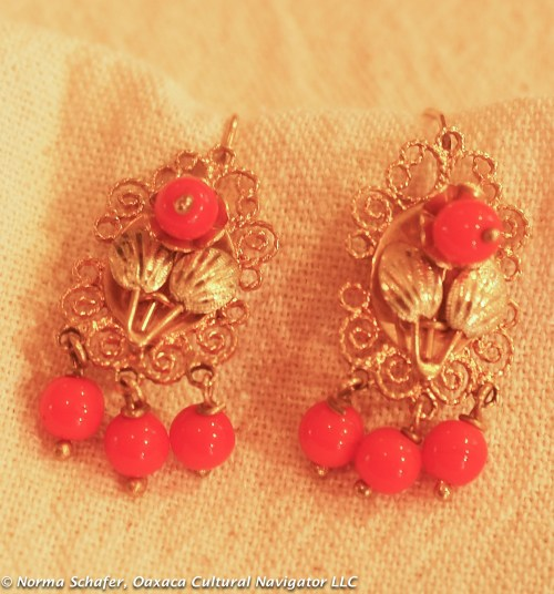 "#5. 10K Gold vintage filigree earrings with coral, 1-1/2"" long, $185 USD"
