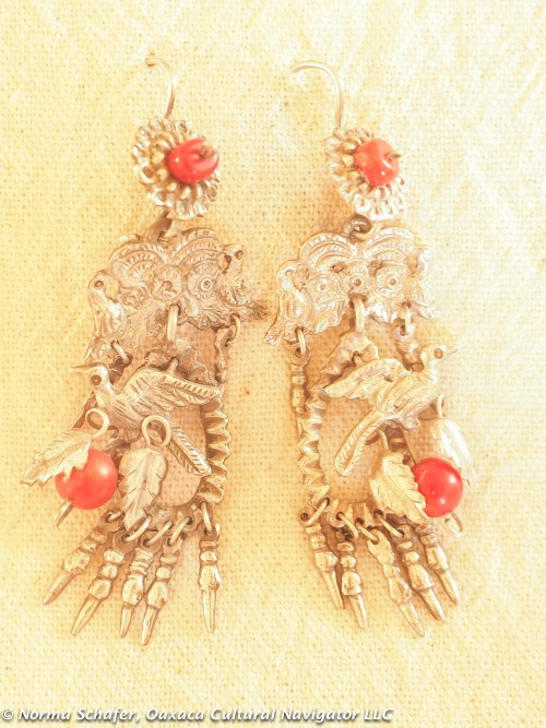 Mazahua New Silver + Coral Bird Earrings, $145