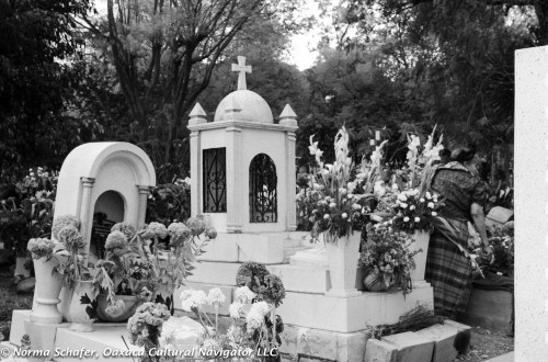 Preparing the grave with flowers, fruit, nuts and prayers.