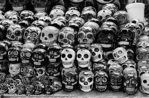 Skulls in the market. All altars have some form of them.