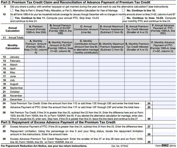 Premium Tax Credit Form 8962 and Instructions - Obamacare Facts