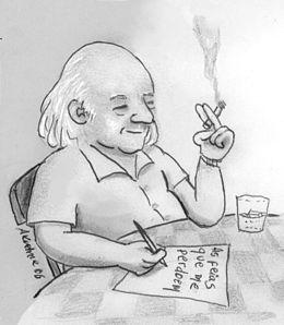Caricatura do poeta.