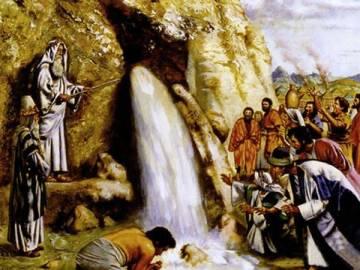 Moisés faz sair água do rochedo. Números 20