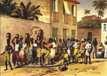 Rugendas (1802-1858). Carregadores de Água. As brigas nos chafarizes eram constantes. Na pintura, escravos e um sentinela.