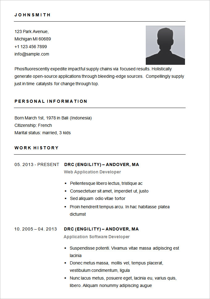 Sample Resume With Picture Template Resume Templates