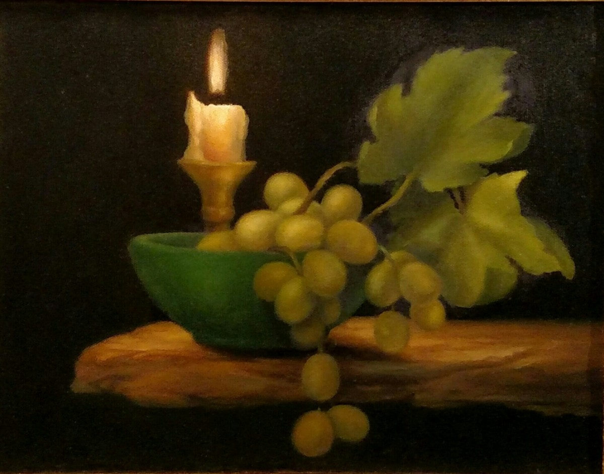 Candle Light Painting Academic Realism Oil Paintings Still Life With Grapes In