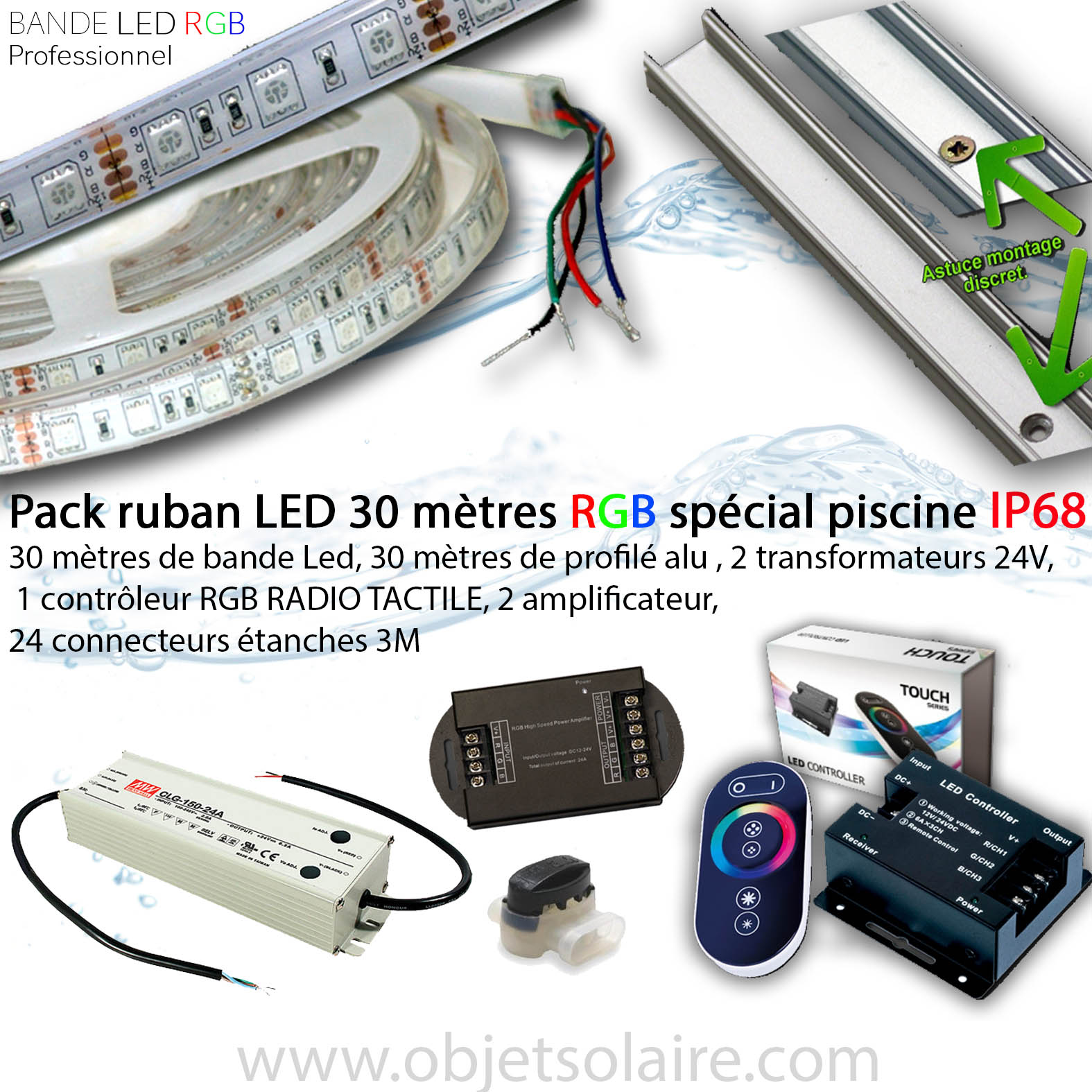 Ruban Led Eclairage Kit Ruban Led 30 Mètres Piscine Rgb Ip68 Eclairage Led