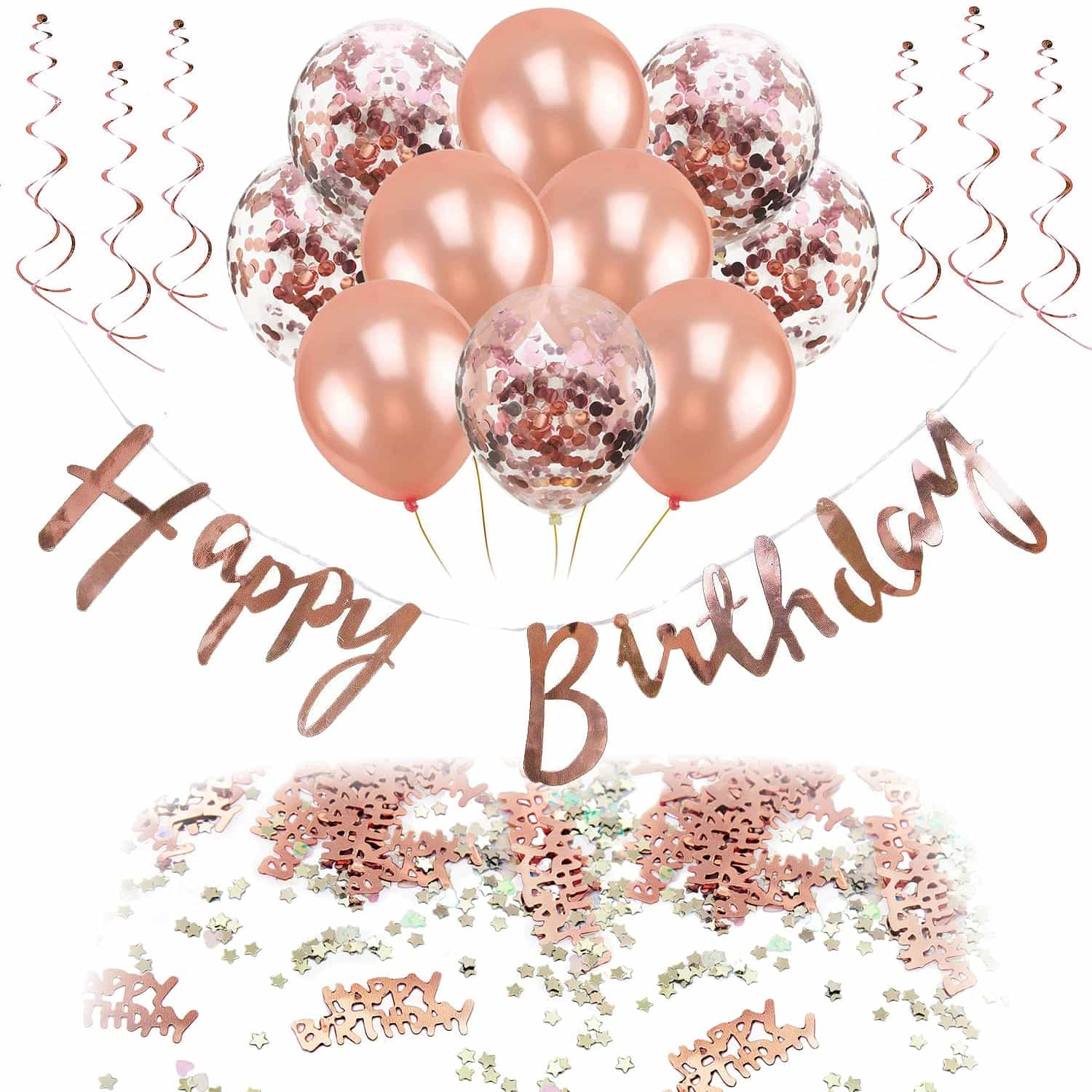 Rosegold Deko Happy Birthday Geburtstag Party Deko Set Girlande Ballons Konfetti Uvm Roségold