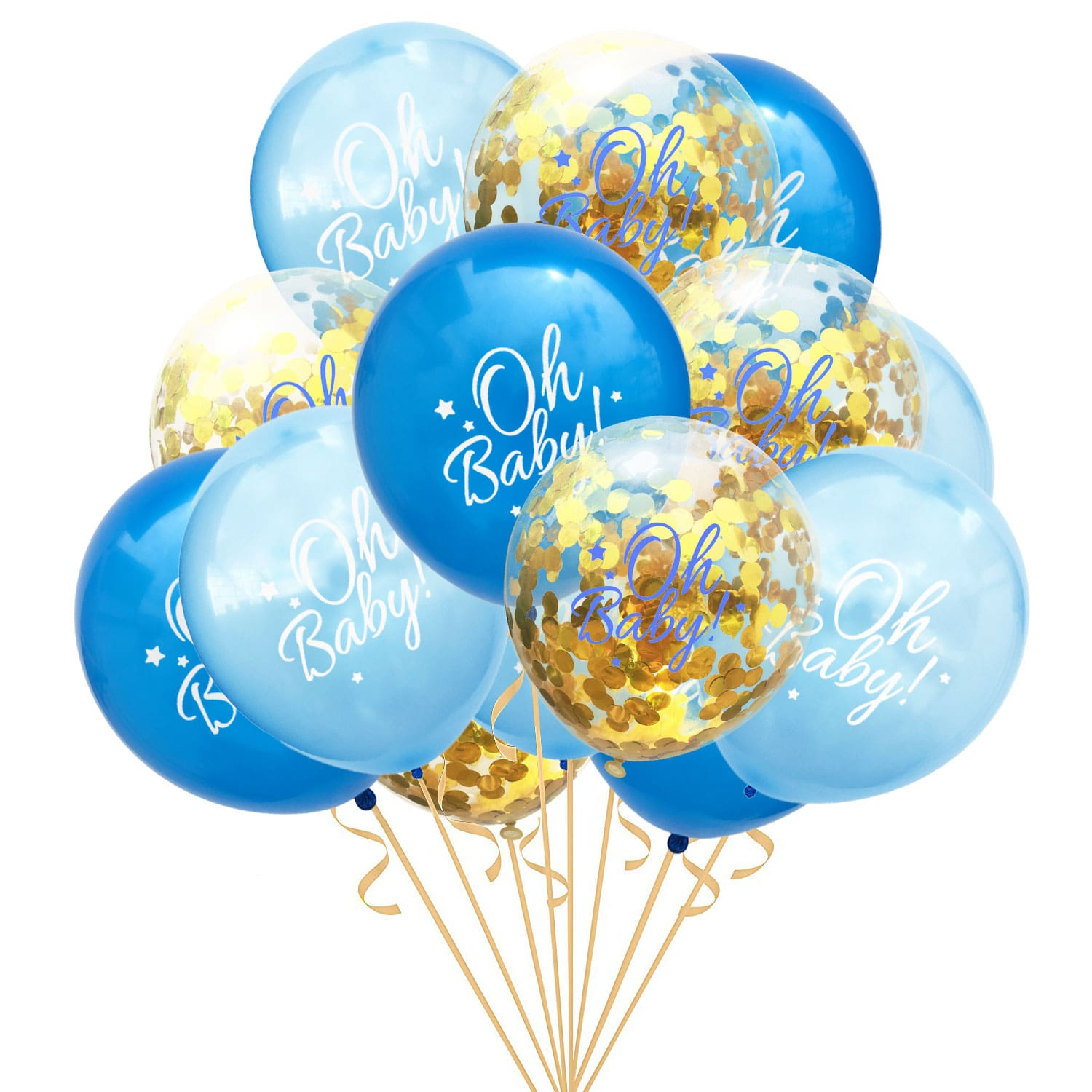 Babyparty Junge Konfetti Luftballon Set Für Baby Shower Party Junge 15 Deko Ballons Blau Gold
