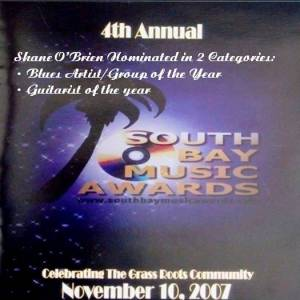 """South Bay Music Awards 2007 Two Nominations for Shane O'Brien"""