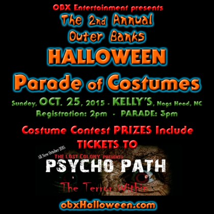 2015 Outer Banks Halloween Parade costume contest prizes include tickets to PsychoPath: The Terror Within.