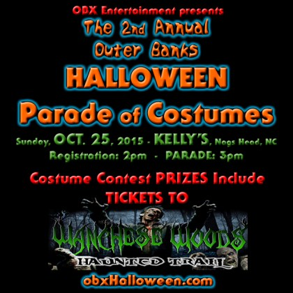 2015 Outer Banks Halloween Parade costume contest prizes include tickets to Wanchese Woods Haunted Trail.