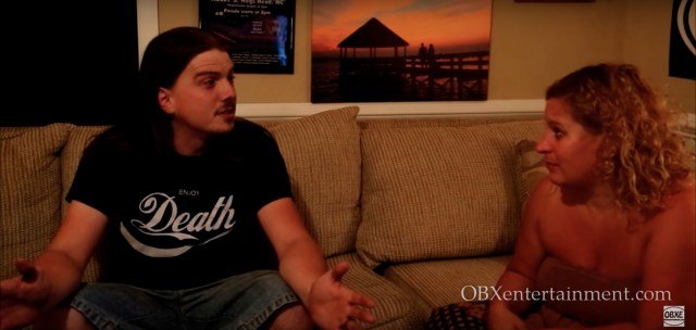 Sue Artz with PsychoPath creative director Rob Jenkins on the set of the OBX Entertainment original series 'OBXE TV' on Sept. 15, 2015.