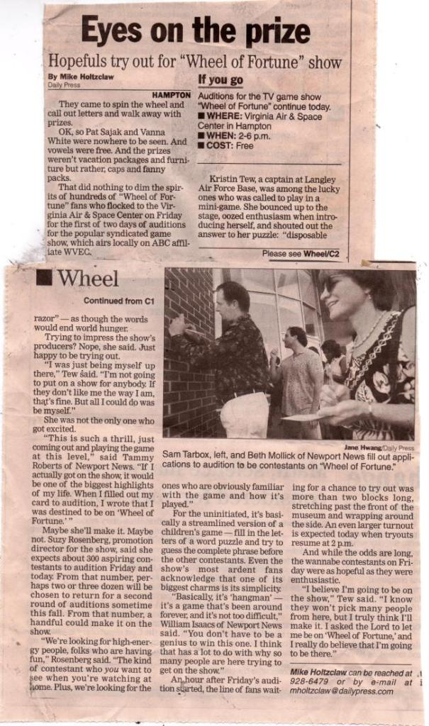 Article from 'The Daily Press' newspaper about Wheel of Fortune auditions coming to Virginia Beach in October 2001.