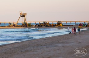 Beach nourishment project in Duck, NC, on June 1, 2017. (photo by Matt Artz for OBX Entertainment)