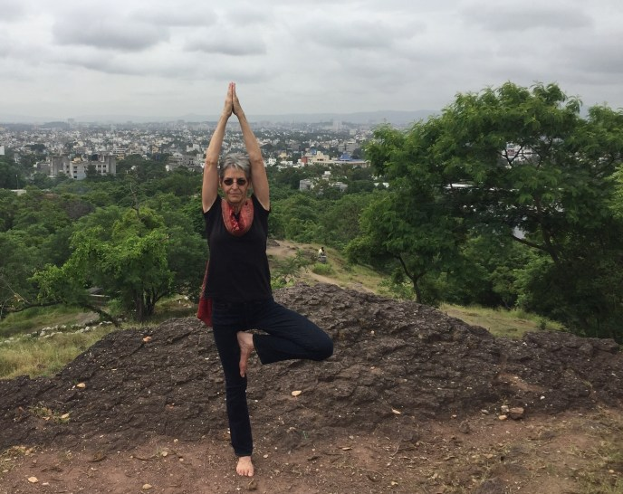 Vrksasana with Pune, India in the background (2017)