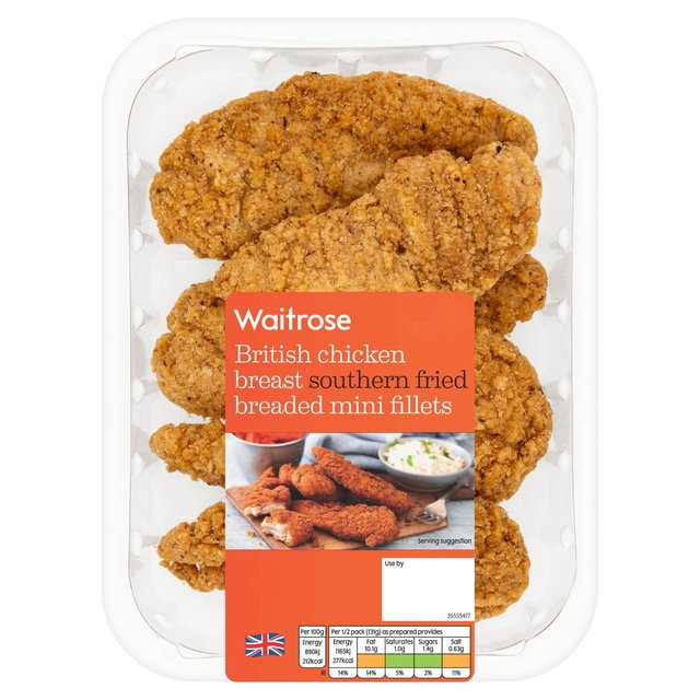 Waitrose British Southern Fried Chicken Breast Breaded Mini Fillets 305g From Ocado