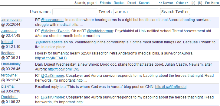 aurora search on twitter