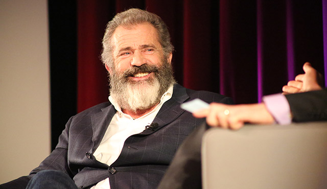 """Actor/Director Mel Gibson was interviewed by EWTN's Raymond Arroyo as part of Arroyo's  """"Storyented"""" series. The event was held Oct. 20 at the Freed Theater at Christ Cathedral. / Photo: Challenge Roddie"""
