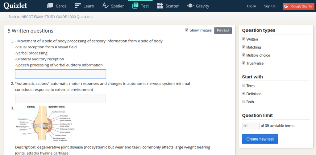 Study practice NBCOT tests on Quizlet