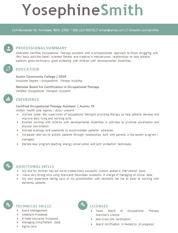 Occupational Therapy Resume Template Download  Tips to Get Hired - photo on resume