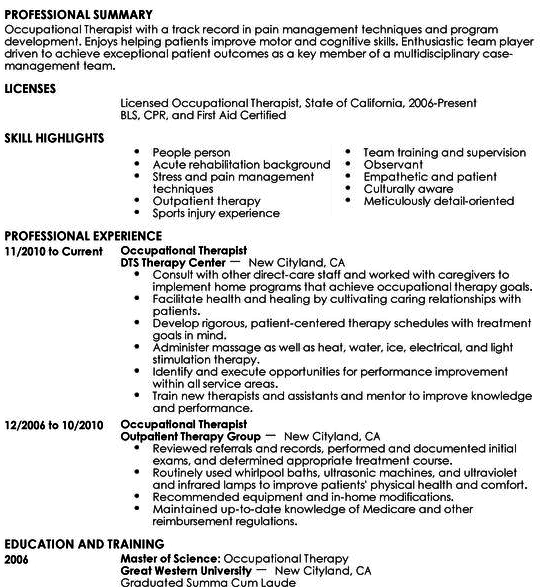 sample occupational therapy resumes