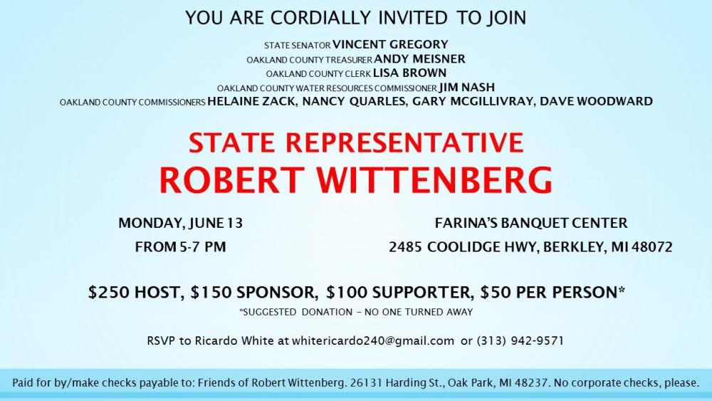 Robert Wittenburg Fundraiser June 13 Oakland County Democratic Party