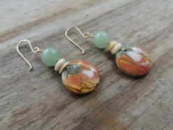 Ocean Tuff Jewelry - Red Creek Jasper, Aventurine & Puka Shell Earrings