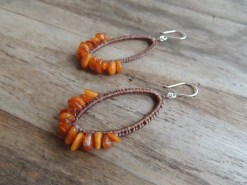 Ocean Tuff Jewelry - Amber Chip Woven Hoop Earrings