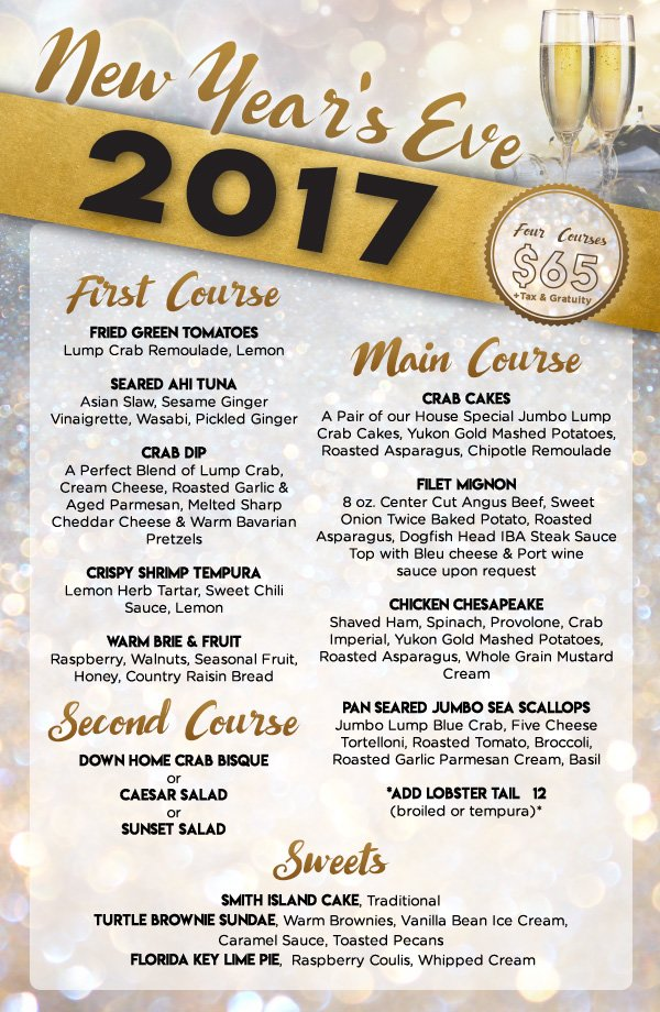 2017 New Year\u0027s Eve Menu Dockside Bar and Grille West Ocean City