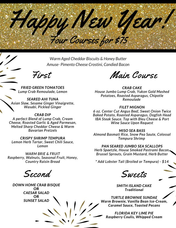 2018 New Year\u0027s Eve Menu Dockside Bar and Grille West Ocean City