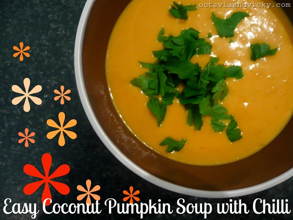 easy coconut pumpkin soup with chilli