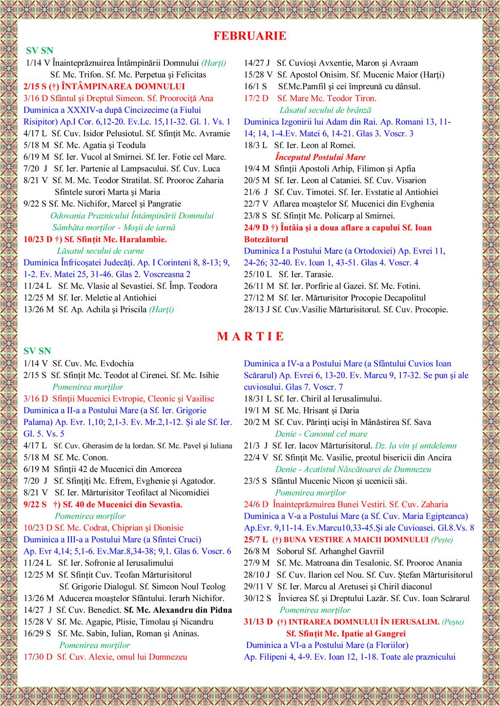 Calendar 2015 Crestin Ortodox Calendar Ortodox 2018 Calendar Crestin Ortodox Sarbatori Calendar Crestin Ortodox De Stil Vechi – 2014 – Mitropolia