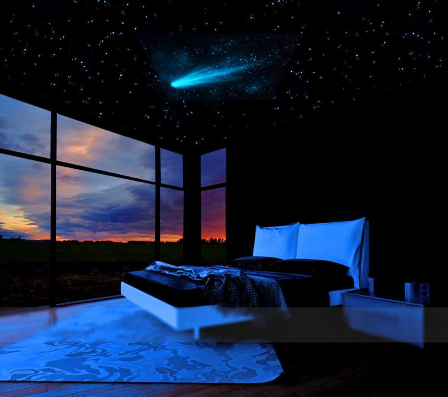 3d Wallpaper For Kid Bedroom Comet And Stars Glow In The Dark Ceiling Mural
