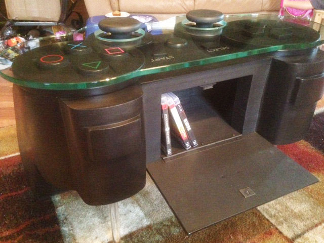 Black Coffee Table With Glass Top Giant Playstation 3 Controller Coffee Table