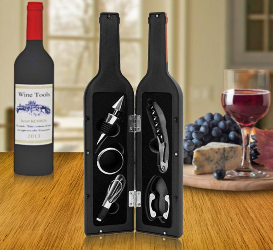 Corkscrew Wine Tools That Come In A Wine Bottle Shaped Container