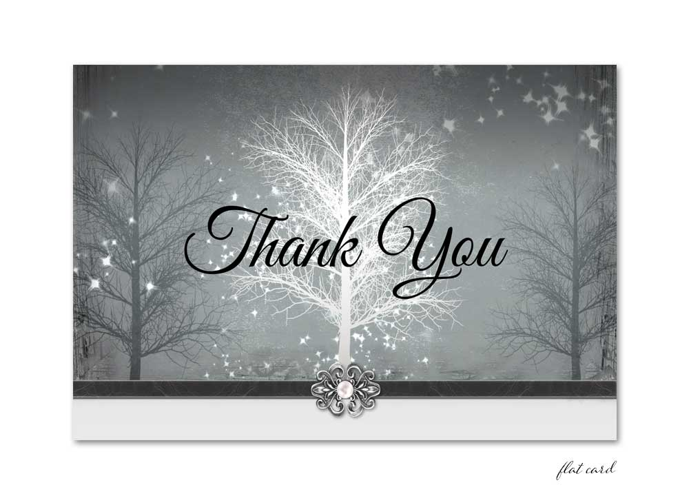Winter Wonderland Flat Thank You Card - Grey for any occasion