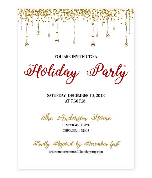 Hanging Gold Glitter Holiday Party Invitation editable PDF