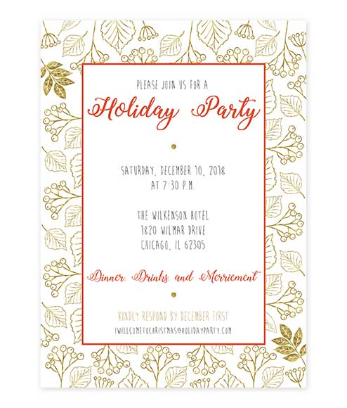 Holly Leaf Mistletoe Gold Holiday Party Invitation