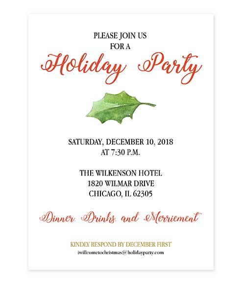 Watercolor Holly Leaf Holiday Party Invitation editable PDF