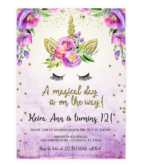 Unicorn Gold Glitter Purple Watercolor Birthday Invite Editable Invite