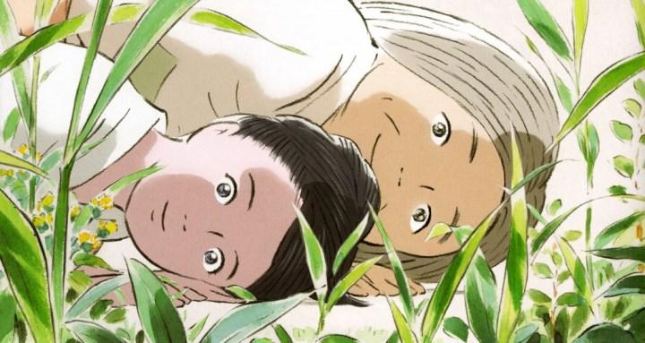 Kaguya et sa mère adoptive au jardin