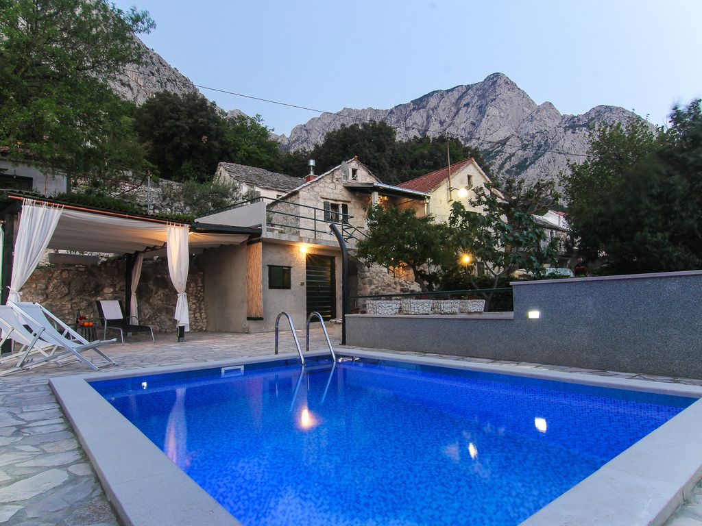 Ferienhaus Kroatien Mit Pool Baska New Stone House With Heated Pool Terrace And Sea View Baška Voda